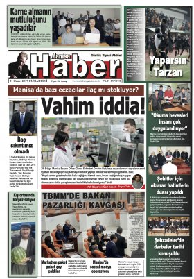 Manisa Haber Gazetesi- 21.01.2017 Manşeti